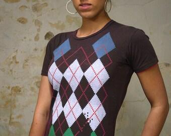 Clearance Black Shirt - Retro Video Game Shirt - Argyle Shirt - Women's T-shirt - Gamer Girl - Gamer Gifts - Women's Graphic Tee