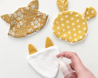 3 wipes for baby debarbouiller / demaquiller animal heads cotton fabric and Terry velour