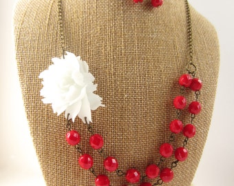 Red Necklace Beaded Flower Necklace Red Statement Necklace Wedding Jewelry Christmas Jewelry
