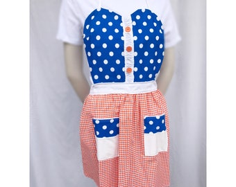 Royal and orange sweetheart apron