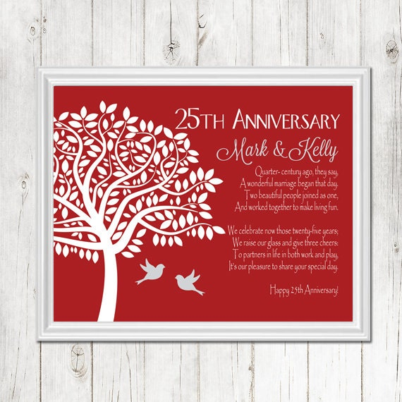 Gifts 25th Wedding Anniversary Couple: 25th ANNIVERSARY Gift Print Personalized Gift For