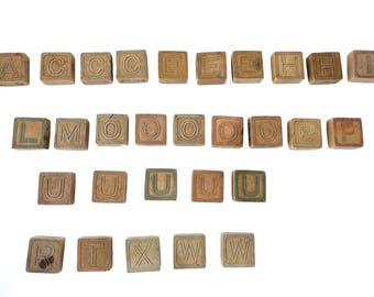 Antique Wooden Blocks Primitive Toy Alphabet Animals ABC Building Blocks Antique Toy Blocks Flat 2 Sided Raised Letters Early Toy Old Wood
