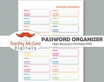 Password Organizer - Instant Download Printable Website, Username & Password Log