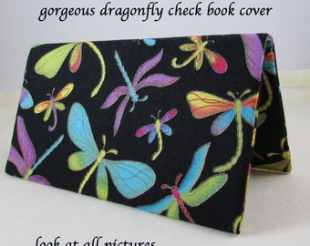 Dragonflies Checkbook Cover - Coupon Holder - Multi Color Dragonfly Check Book Cover - Checkbook Cover Gift Idea - Dragonfly Check Book