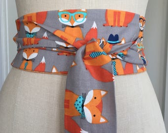 Fox print Obi Belt, cotton print obi sash, orange print obi, fun printed fox obi belt, fabric belt, reversible obi, waist cincher