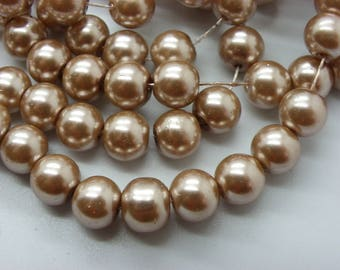 50 8 mm Pearl glass 8 mm beige pink beads