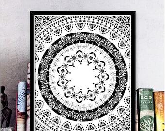 Boho Wall Art Mandala Print Mandala Poster Printable Art Black & White Pattern Print Meditation Art Sacred Geometry Decor Digital Download