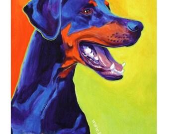 Doberman, Pet Portrait, DawgArt, Dog Art, Pet Portrait Artist, Colorful Pet Portrait, Doberman Art, Pet Portrait Painting, Art Prints