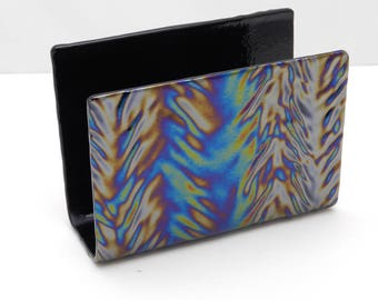 Letter Holder,  Mail Holder,  Small Napkin Holder, Black Iridescent Herringbone Textured Fused Glass. Elegant Desk Accessory, #49