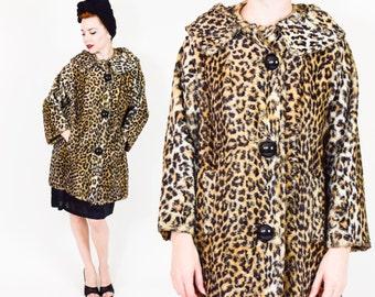 60s Leopard Print Coat | Faux Fur Animal Print Mod Winter Coat | Large