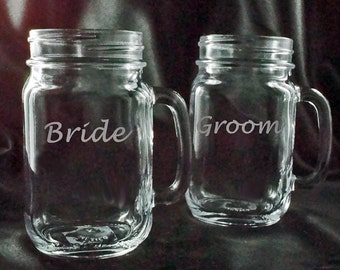 Personalized Bride and Groom Glasses - Mason Jar Mugs - Redneck Wine Glass - Etched Mugs - Gift for the Couple - Personalized glassware
