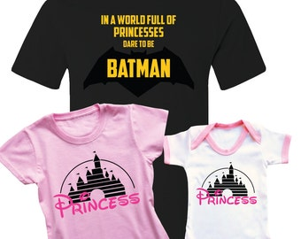 Father and daughters t-shirts and babygrow set. For father with daughters. Batman and Princesses.