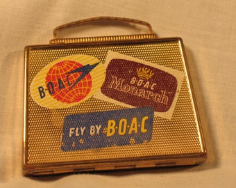 Vintage Compact BOAC Airlines Figural Suitcase with Bag 1940s from Great Britain
