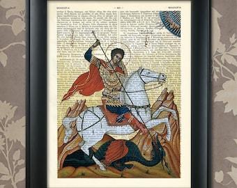 Saint George, The Dragon Slayer, Saint George print, St George Print Saint George poster, Saint George art, St George, Greek Icons