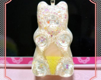 Pink ice cream gummy bear necklace or keychain