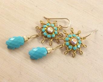 Sleeping beauty turquoise drop flower earrings