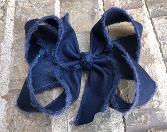XXL Frayed Denim Boutique Bow