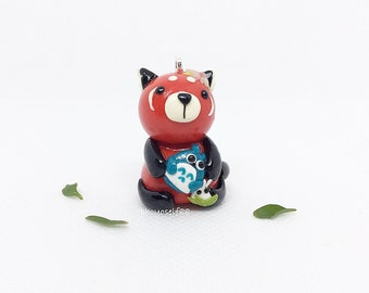 Totoro and Red panda -Polymerclay keychain charms