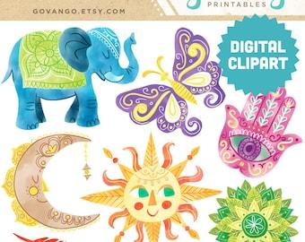 BOHO GYPSY Digital Printable Clipart Instant Download Sun Moon Elephant Hansa Mandala Feather Butterfly Illustration Bohemian Clip Art