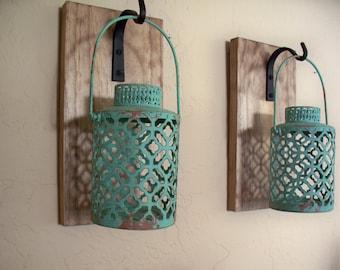Rustic Turquoise Lantern Pair (2), Wall Decor, Bedroom Wall Decor, Wall