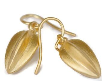 Gold Vermeil Seed Pod Earrings  Large Gold Drops, Botanical Jewelry  Artisan Handmade by Sheri Beryl