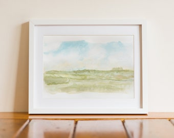 Ireland Summer Fields Watercolor Landscape Giclee Print - Waterford, Ireland