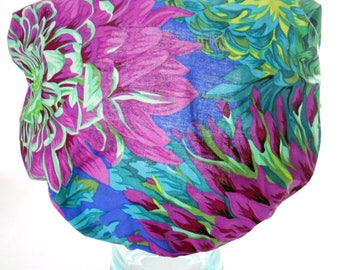 Waterproof Shower Cap - Shabby Chic Purple Neon Green Mint Cabbage Floral Flowers Satin Sleep Bonnet - Rockabilly Bath and Beauty Hat