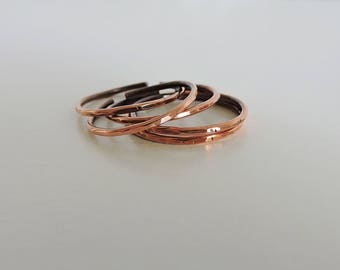 copper stacking rings, set of 5 copper rings, copper hammered rings, rustic rings, copper ring