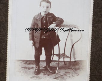 Vintage Young Boy Cabinet Card | Antique Photo Late 1800's | Early 1900's Victorian Photograph | Black & White Photo | Antique Photograph