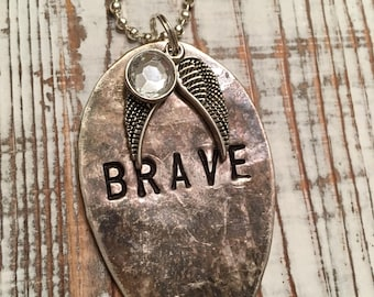 Brave hand stamped spoon necklace