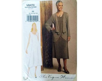 "UNCUT Vogue 8474 Sleeveless Summer Dress and Cardigan Jacket Sewing Pattern 4 Sizes UK 8 10 12 14 Bust 31.5"" 32.5"" 34"" 36"""