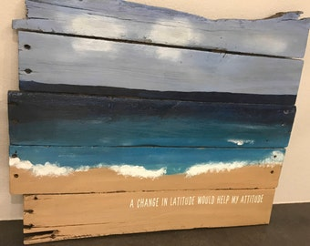 Hand painted beach scene on reclaimed pallet wood, nautical, ocean, waves, art
