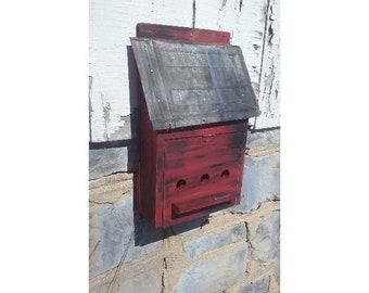 Red Birdhouse with Metal Roof