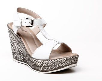 White leather shoes, Womens white sandals leather, Womens leather sandals size 37 EU, white platform sandals, Womens slingbacks