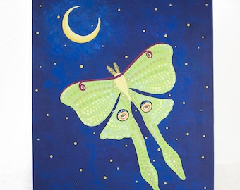 Original Painting on Canvas Panel - Luna Moth in the Moonlight - Colorful Blues and Greens