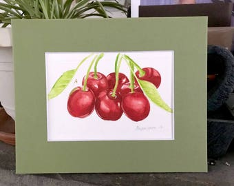 Cherries_1 ORIGINAL Watercolor Matted