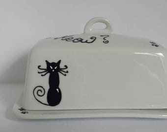Handpainted Black cats on ceramic butter dish