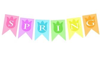 Spring Tulip Banner Printable