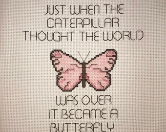 Inspirational Caterpillar To A Butterfly Counted Cross Stitch Pattern