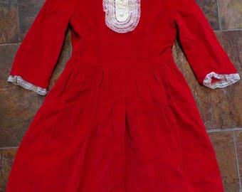 RED VELVET DRESS girls M 1960's 60's
