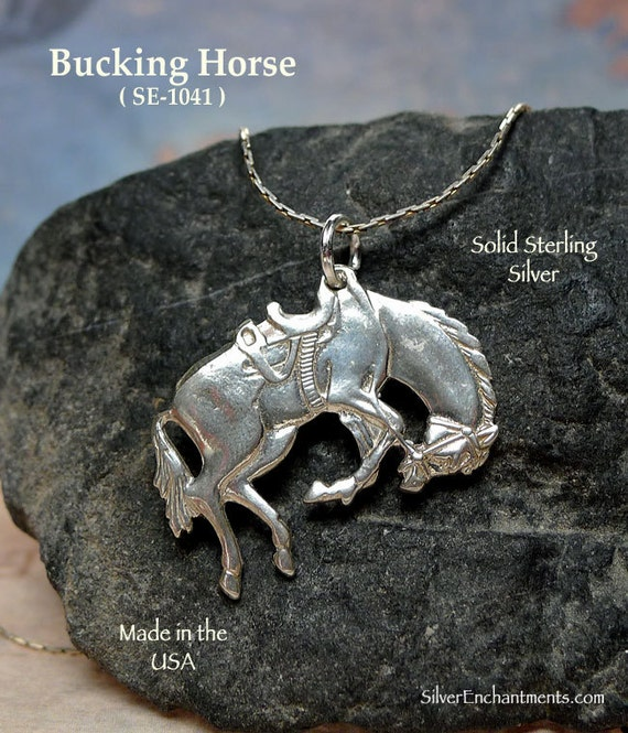 Sterling horse pendant 925 silver bucking horse necklace like this item aloadofball Gallery