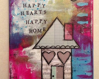 Happy Hearts Happy Home Mixed Media Original Art Canvas 8x10,  Wall Art,  Home Decor,  Gift for Mom, Gift Idea