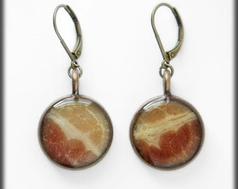 Bacon Earrings, Real bacon, bacon accessories, meat jewelry, genuine, love bacon, weird gifts, weird stuff