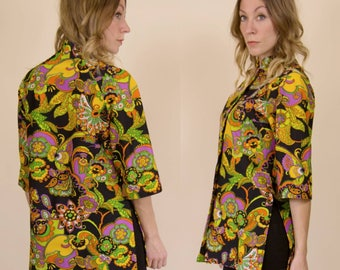 Vintage 1970s Psychedelic, Floral, Paisley Button up // High Collar, Tunic Blouse