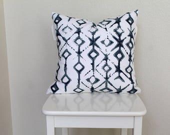 "shibori Couch throw pillow Cover, Invisible zipper, closure, Indigo dye, blue. 18"" square Home decor, cushion, white, gray, baby nursery"
