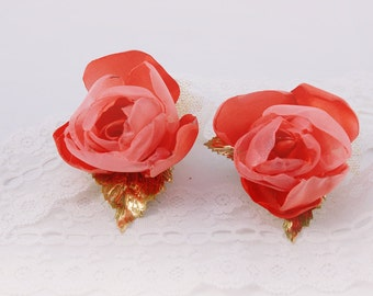 Wedding Boutonniere Coral Flower Groom Boutonniere Coral Flower Pin Set of 2