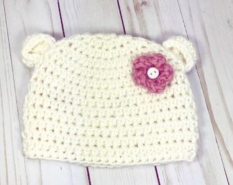 Crochet baby hat, baby hat, baby girl hat, cream hat, beanie baby hat, bear hat, baby bear hat