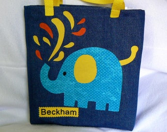 Personalized Tote Bag|Kid Tote Bag Elephant|Gift For Nephew|Boy Tote Bag|Toddler Tote Bag|KidLibrary bag|Christmas Gift|Gift For Grand Kids
