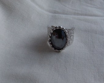Caroline Emmons Dazzler Adjustable Ring 1702  Vintage, Black, Cuff