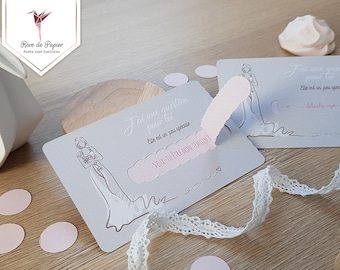 Card request to witness or bridesmaid rose powder and beige with detachable strap